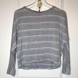 Lou & Grey Grey and Purple Stripe Sweater, XS